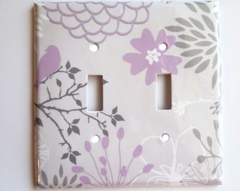 Lavender Gray Switchplate Cover, Light Switch Cover Single, Triple Switchplate, Double switchplate, Floral Light Switch Cover