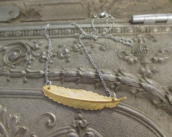 The Jane Necklace - Brass Feather Necklace