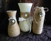 Vases, Glass Vases, Painted Vases, Steampunk Vases, Wedding Vases, Burlap Vases, Upcycled Vases, Wedding Decor