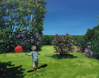 """Original oil painting on canvas, Teddy's Red Balloon, 14"""" x 14"""""""