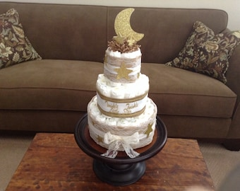 Burlap and lace Rustic Diaper Cake Baby Shower Centerpiece Three tier other toppers and colors prices too