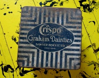 Crispo Tin,  Graham Dainties Sawyer Biscuit Co Tin,  Black White Stripes tin,  Chicago Advertising, Litho Tin, Cottage Chic Decor