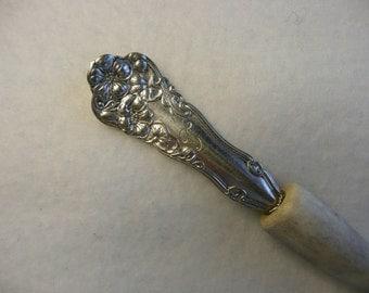 Deer Antler and Antique Wm. Rogers Diana Spoon Handle Stick  #41