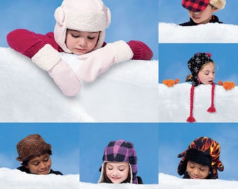 HATS - MITTEN PATTERN / Sale / Boy and Girl Winter Clothes / 6 Styles of Warm Hats