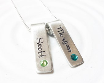 Rolled Top Birthstone Tag Necklace - Mother's Necklace - Personalized Jewelry - Mother's Jewelry - Gift for Her - Birthstone Name Necklace