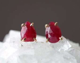 Natural Rose Cut Ruby Stud Earrings
