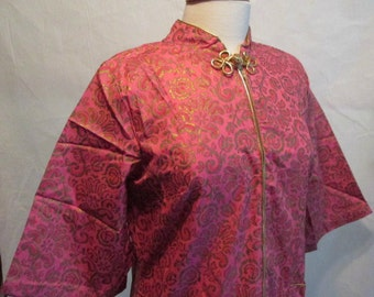 NOS Cheongsam Inspired Robe Hot Pink with Gold Vintage 12