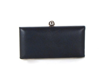 Navy Blue Leather Clutch  - Small Navy Purse - Blue Leather Minaudière - Blue Box Clutch - FREE GIFT BOX