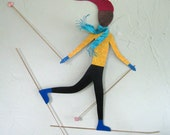 Metal Wall Art Downhill Skier Sculpture Recycled Metal Winter Sports Wall Art Yellow Black Indoor Outdoor 18 x 23