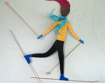 Metal wall art sculpture cross country skier reclaimed metal decor large skier wall art