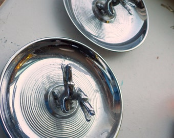 Pair Vintage Chrome Democrat Mad Men Donkey Pincherette Ashtray