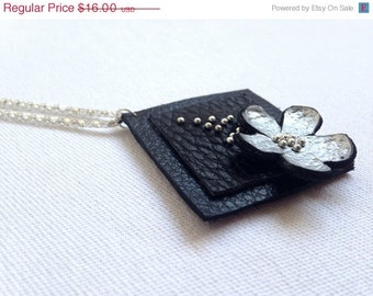 "50% OFF SALE Silver color floral leather pendant Statement necklace Flower Leather Jewelry ""Nature inspired"" collection"
