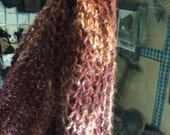 Alpaca knit scarf, deep red and pink