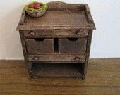 Dollhouse Kitchen veggie bin utility cupboard  dark oak cupboard  dollhouse miniature twelfth scale