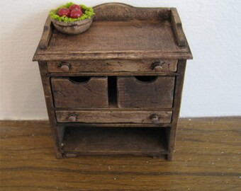 Dollhouse Kitchen veggie bin ,utility cupboard,  dark oak cupboard , dollhouse miniature, twelfth scale,