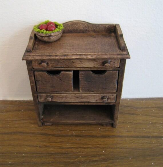 Dollhouse Kitchen veggie bin ,utility cupboard,  dark oak cupboard , dollhouse miniature, twelfth scale,
