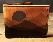 wallet, leather wallet, mens leather wallet, faded mountians wallet - 038