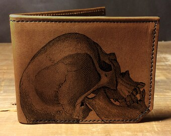 wallet - leather wallet - mens wallet- mens leather wallet - Skull wallet- 0013