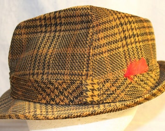 SALE! Vintage Men's Tweed Fedora Hat by Dobbs complete with Feather