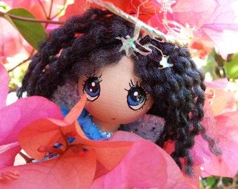 "come see a little BLUE ROSE ANGEL....trinket box, 4.5"" kawaii angel doll, island aloha angel, whimsical wood doll, handmade in hawaii"