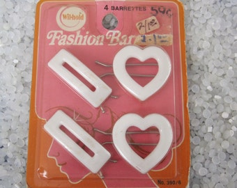 vintage barrettes  on original card vintage 1970s fashion barrettes White hearts, white retangles