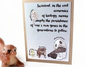 Baby Animal - Blank Card - Science, Biology, Panda Chick Kitten Monkey - Gift Idea, Teacher, Kids, Watercolor Painted Art Card