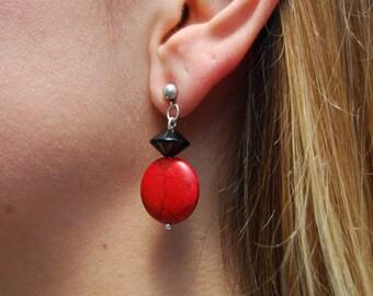 "Earrings Red Howlite - Black Onyx - Dangle - Red Bead 1"" Ball Post"