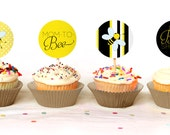 "BEE THEMED - Mom to ""Bee"" Cupcake Toppers - Instant Download - Print Your Own - BAB27_CT"