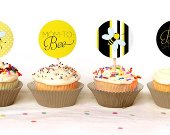 """BEE THEMED - Mom to """"Bee"""" Cupcake Toppers - Instant Download - Print Your Own - BAB27_CT"""