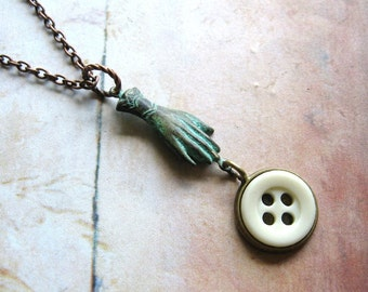 Glove and Button - Verdigris Hand and Antique Glass Button Pendant Copper Chain Necklace Gift Box