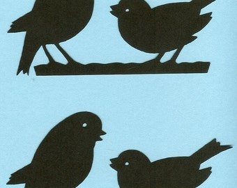 Lot of 2 Silhouette Singing Bird Die Cuts
