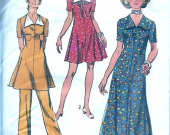 1970s Vintage Sewing Pattern - 1970s Dress Pattern - 70s High Waist Pants Pattern - 70s Pant Suit - Simplicity 9205