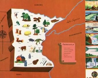 VIntage Pictorial Map of Minnesota 1939 World's Fair