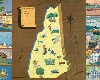 VIntage Pictorial Map of New Hampshire 1939 World's Fair