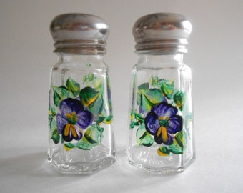 Purple Pansies Salt Pepper Shakers Salt Pepper Jars Hand Painted Shakers Clear Glass Small Size Pansy Kitchen