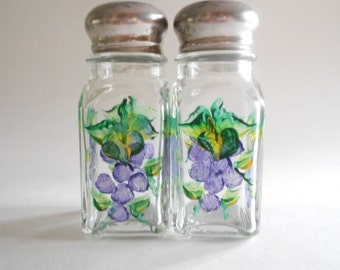 Purple Grapes Salt Pepper Shakers Spices Jars Hand Painted Shakers Grapes Salt Pepper Clear Glass Square Size Grapes Kitchen