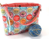SALE - Knitting Project Bag Crochet Tote - Pop the Top