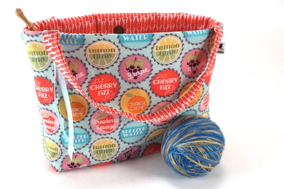 Knitting Project Bags For Sale : Sale knitting project bag crochet tote pop the top by madbird