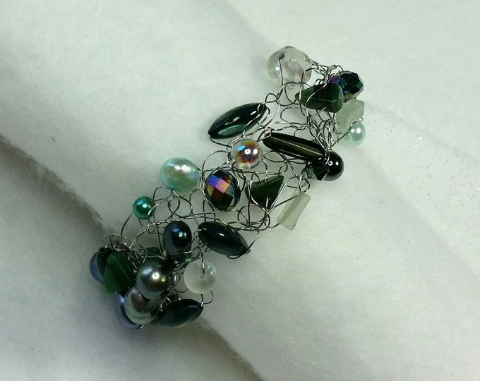 Sparkling Shades of Teal Crocheted Wire Bracelet