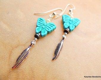 Butterfly Earrings, Turquoise Jewelry, Dangle Earrings, Butterfly Totem, Handcrafted Jewelry, Native Style, Boho Jewelry, Silver Jewelry