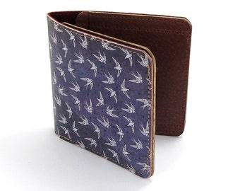 Leather Wallet /  Men's Leather Wallet  / Leather Card case  - Swallows