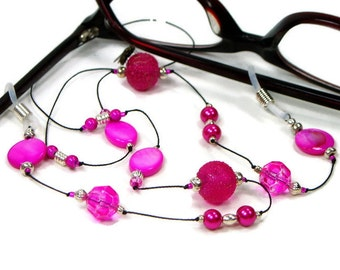 Hot Pink Glasses Chain Eyeglass Chain Reading Glasses Lanyard Glasses Holder Stylish Eyewear Glasses Leash