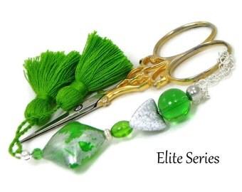 Scissor Fob Elite Series Modern Scissor Keeper Scissor Minder Green Silver Beaded Needlepoint Sewing Quilting Cross Stitch