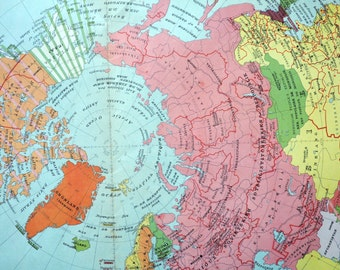 1950 Large Vintage Political Map of the Northern Hemisphere - Poster-sized World Map
