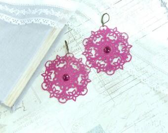 Fuchsia Pink Earrings Extra Large Earrings Boho Earrings Pink Filigree Earrings Pink Dangle Earrings