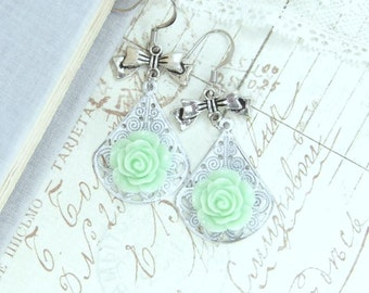 Green Rose Earrings Mint Green Earrings Rose Dangle Earrings Rose Jewelry Shabby Chic Earrings