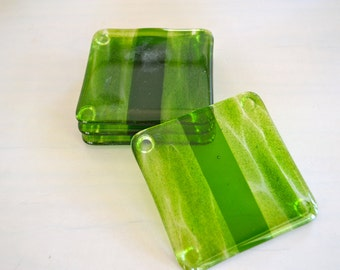 Glittering Summer Green Fused Glass Coasters
