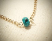 Simple Solitaire Turquoise Chain Necklace