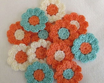 12 Tiny Crochet Flowers, Handmade Appliques, Craft Supplies