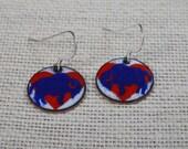 Buffalo Bills Earrings, Buffalove Earrings, Buffalo Jewelry, I Love Buffalo Earrings, Blue Buffalo Earrings, Copper Enamel Earrings